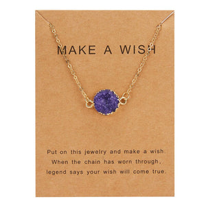 Luokey Simulated Stone Resin Necklace For Women Make A Wish Card Moon Pendants Necklaces Girls Chocker Charm Jewelry Accessories