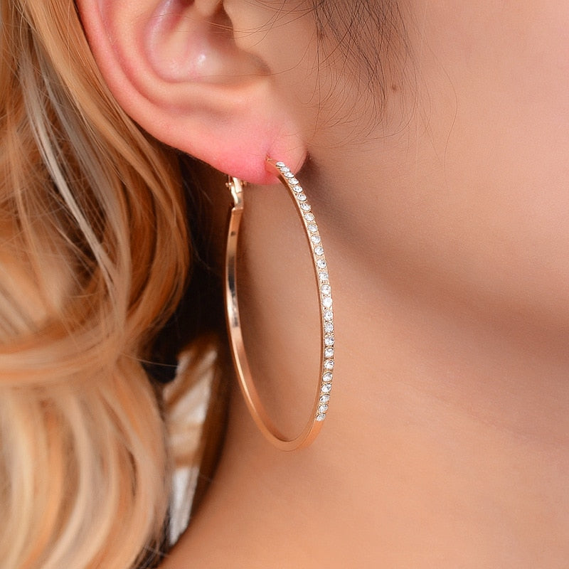 Fashion Hoop With Rhinestone Simple Big Circle Earrings