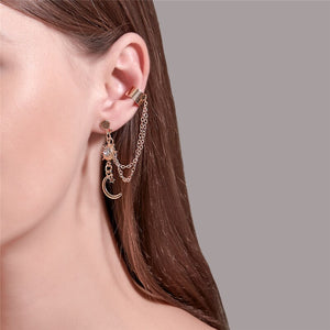 Luokey Long Tassel Ear Clip Gold Color Moon Sun Pendientes Fake Piercing Earrings Jewelry For Women Non Pierced Ear Cuff Brincos (ERCY1184)