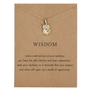 Luokey Simple Lucky Jewelry For Women Wish Card Ballet Owl Animal Pendant Necklace Female Choker Collares Bijoux Femme 2020 Gift