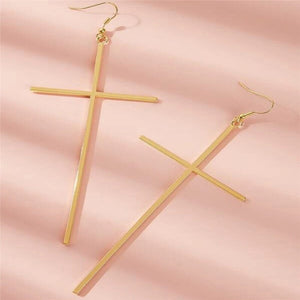 Luokey Exaggerated Vintage Punk Gold Color Cross Dangle Drop Earring Big Statement Minimalist Jewelry Pendientes Mujer Moda 2020