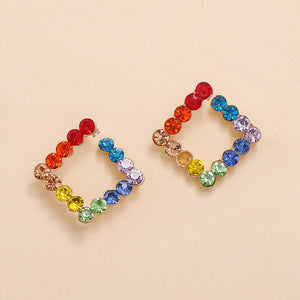 Luokey Simple Aesthetic Stud Earrings Colorful Square Crystal Earrings For Women Fashion Wedding Luxury Jewelry Accessories Gift