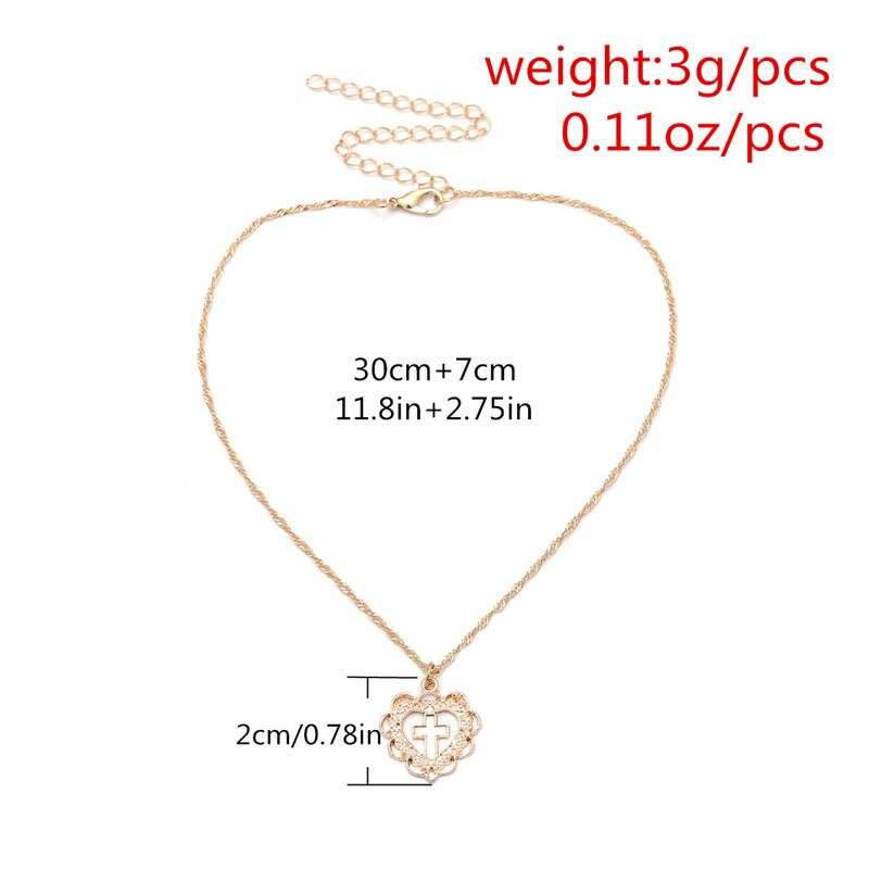Luokey Vintage Choker Necklace For Women Jewelry Clavicle Chain Gold Heart Cross Pendant Necklace Delicate Collares De Moda 2020