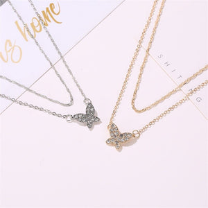 Luokey Luxury Gold Silver Color Choker Necklace With Rhinestone Double Layer Simple Jewelry Clavicle Chain Pendant Necklace 2020