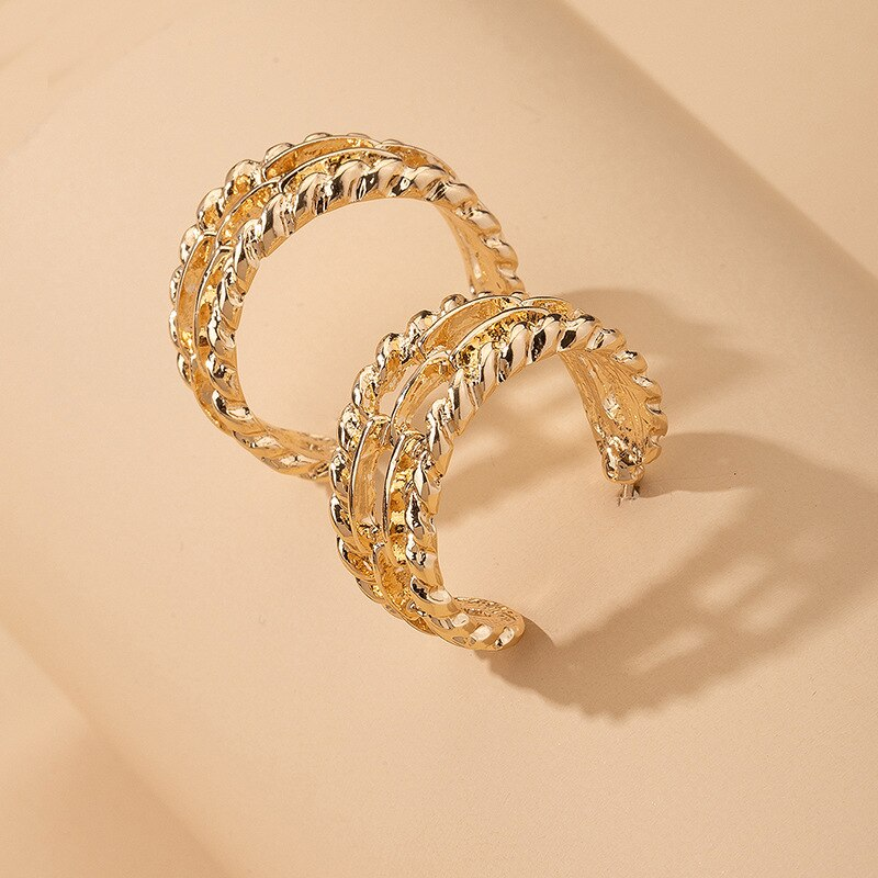 Luokey Originality Small Hoop Earrings For Women High Grade Party Wedding Hoops Earring Exaggerated Simple Loop Earrings Jewelry