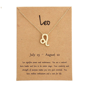 Luokey Men Women Zodiac Sign Necklace 12 Horoscope Virgo Pisces Constellation Gold Pendant Necklace Jewelry Kids Christmas Gifts