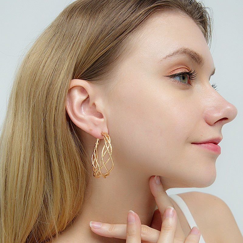 Simple Gold Hoop Round Hollow Fashion Earrings