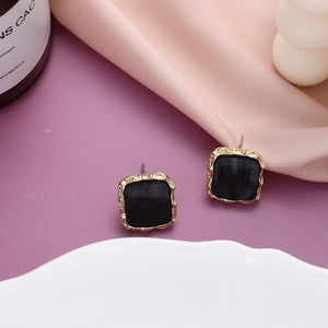 Simple Square Alloy Stud Earrings
