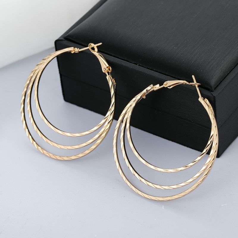Big Round Circle Hoop Earrings With Layer Exaggerated Smooth Large Boucles D'oreilles
