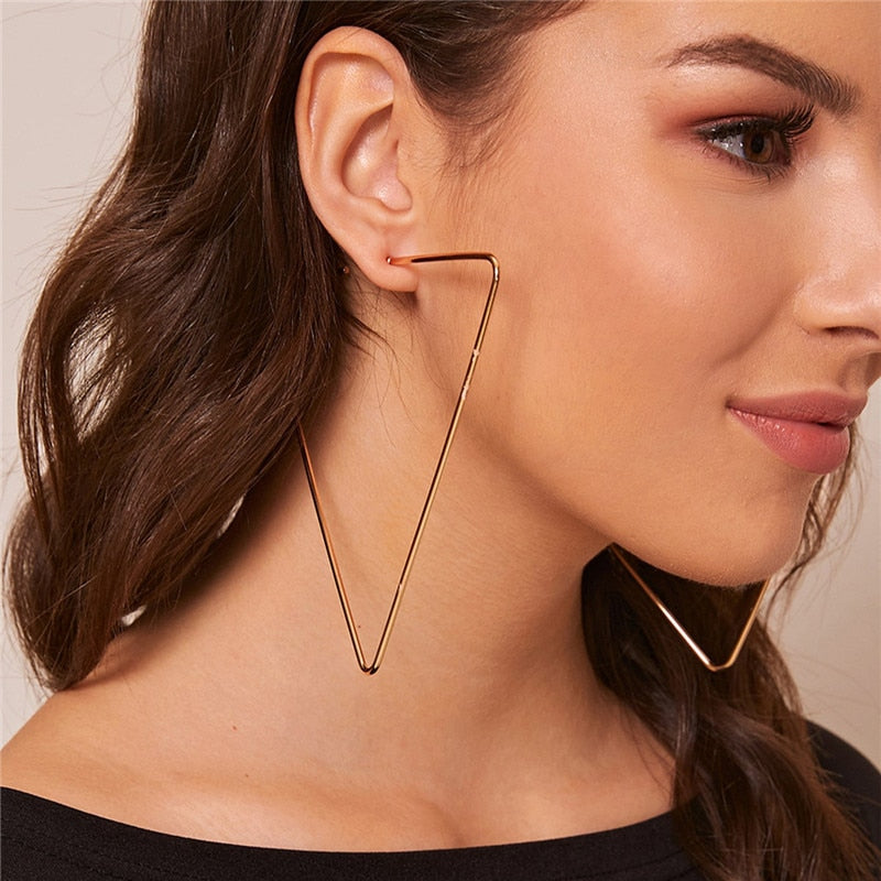 Luokey Super Big Hoop Earrings Gold Color Triangle Wedding Earrings For Women Personality Exaggerated Statement Earrings Jewelry