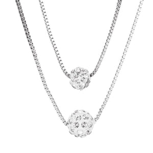 Silver Color Crystal Ball Necklace Layered Clavicle Chain Necklace  (Color 1)
