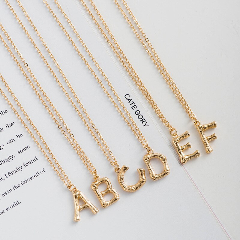Luokey A-Z Alphabet Initial Necklaces For Women Men Metal Alloy Clavicle Letter Pendant Necklace Nameplate Charm Jewelry Collier
