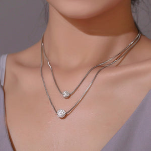 Silver Color Crystal Ball Necklace Layered Clavicle Chain Necklace
