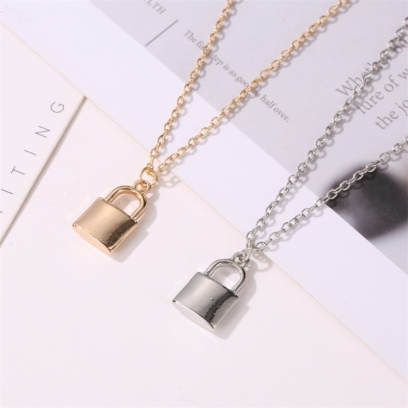 Luokey Girls Metal Gold Plated Necklace Clavicle Chain Silver Color Lock Pendant Necklace Women Hiphop Jewelry Wholesale Collier