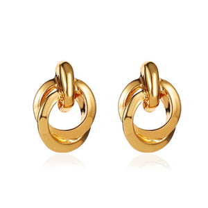 Luokey Trendy Round Hoop Earrings For Women Gold Fashion Wedding Za Maxi Statement Earrings Geometric Jewelry Accessories Brinco