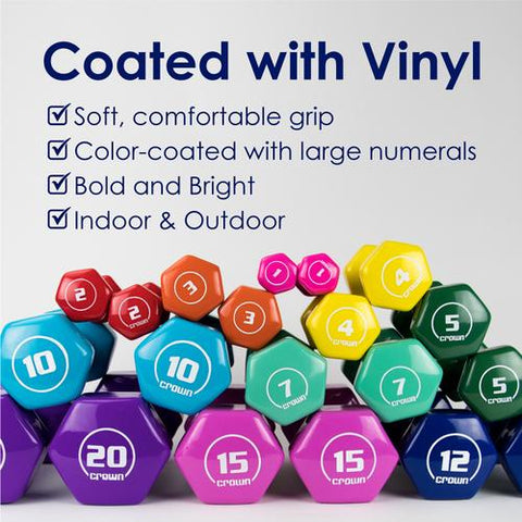 Vinyl Hex Hand Weights, 20 LB
