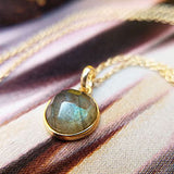 labradorite pendant necklace in gold