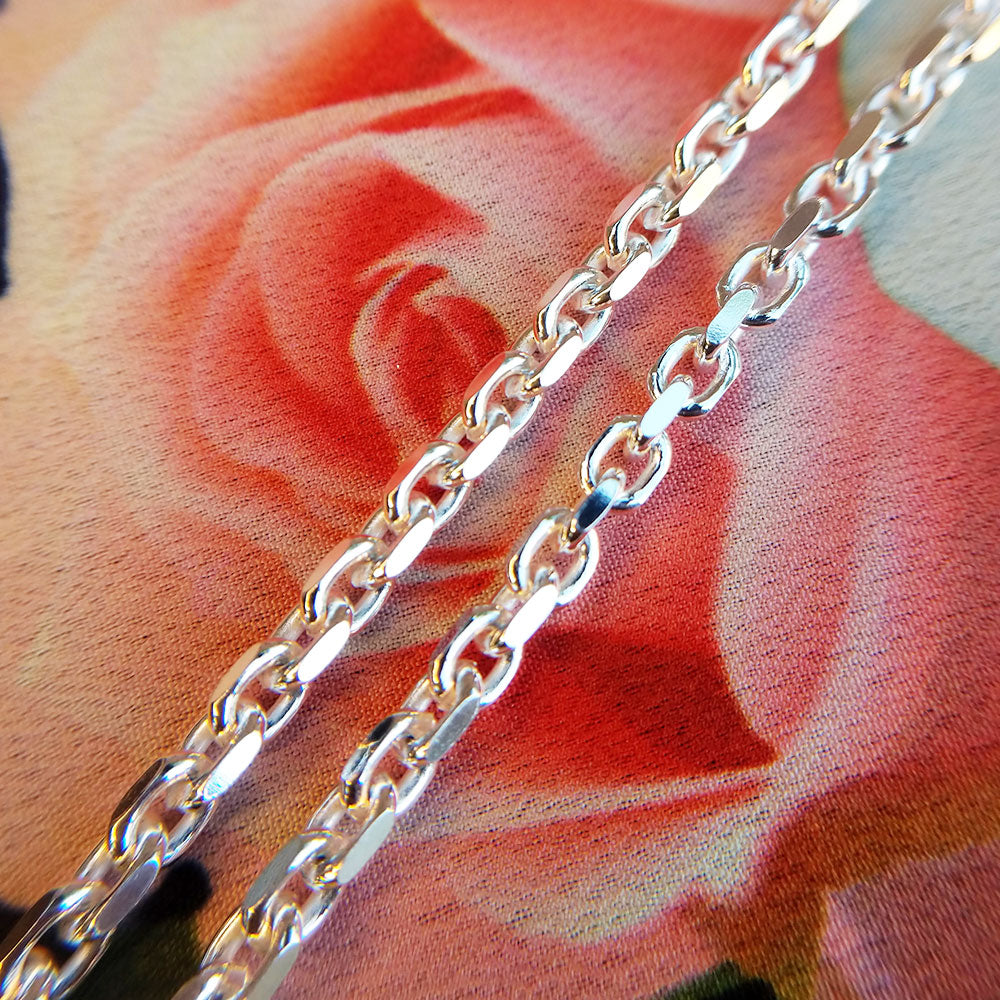 close up of silver belcher chain