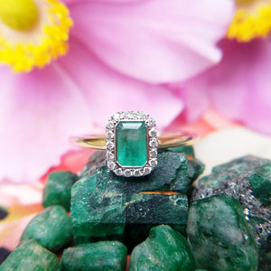 emerald diamond cluster ring