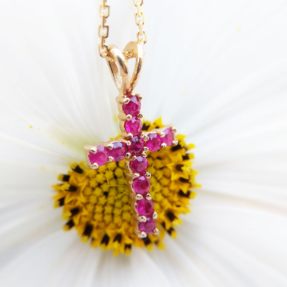 gold ruby cross pendant necklace