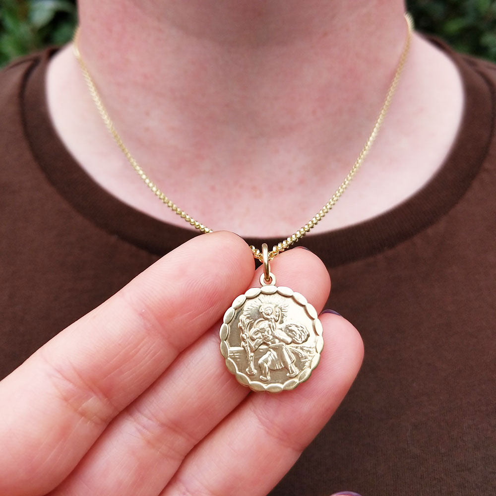 quality saint christopher necklace on belcher chain