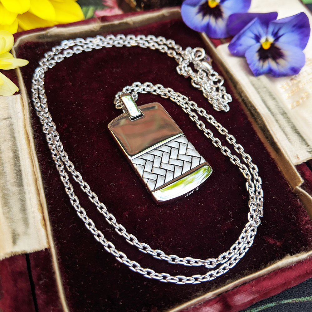 men's dog tag necklace being worn