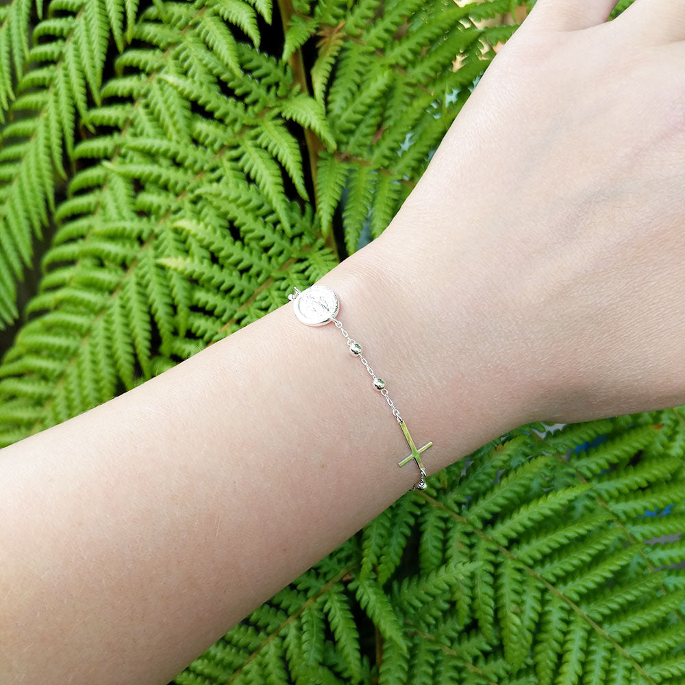 solid silver rosary bracelet