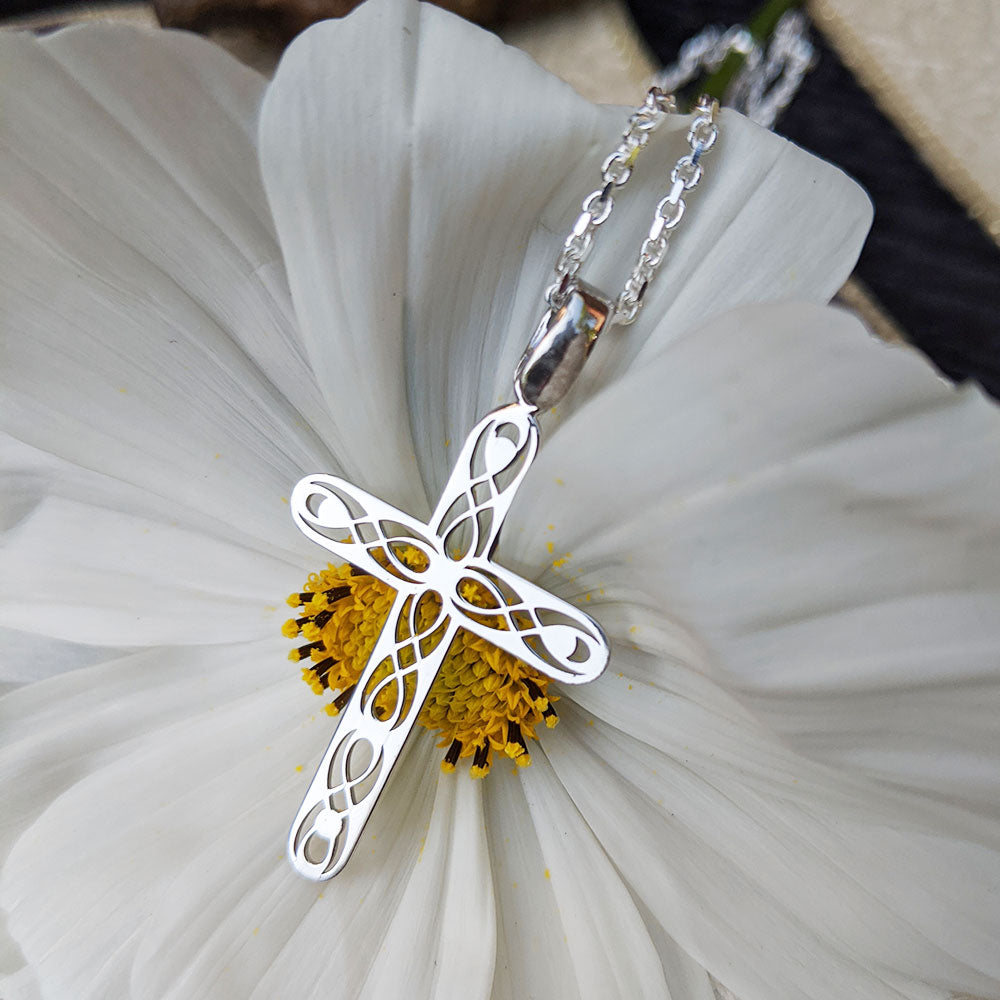 silver Celtic cross necklace for men or women
