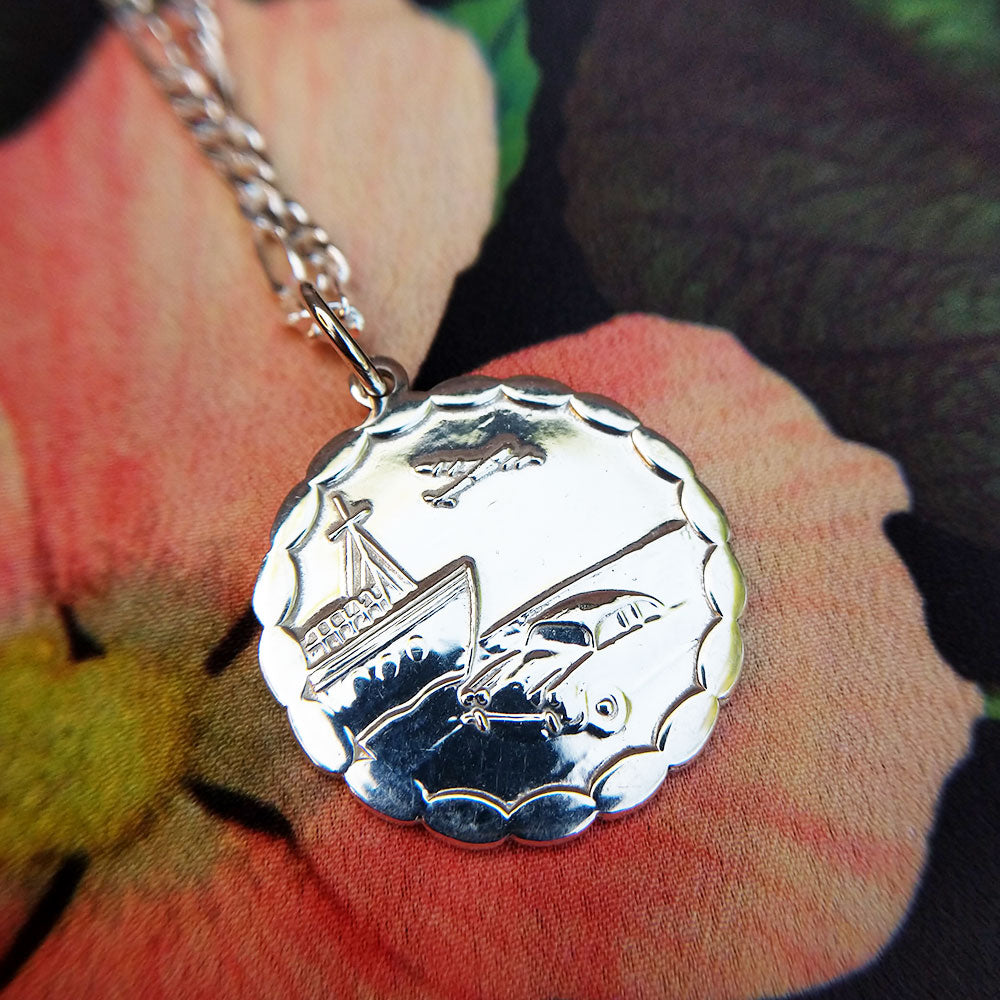 925 silver st christopher medal necklace