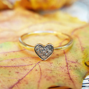 close up of diamond heart ring