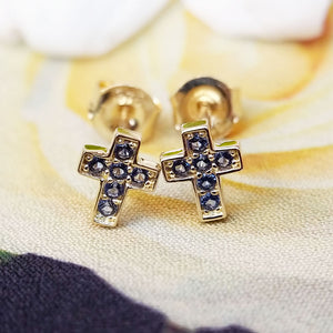 Tiny 9ct Yellow Gold Sapphire Cross Stud Earrings