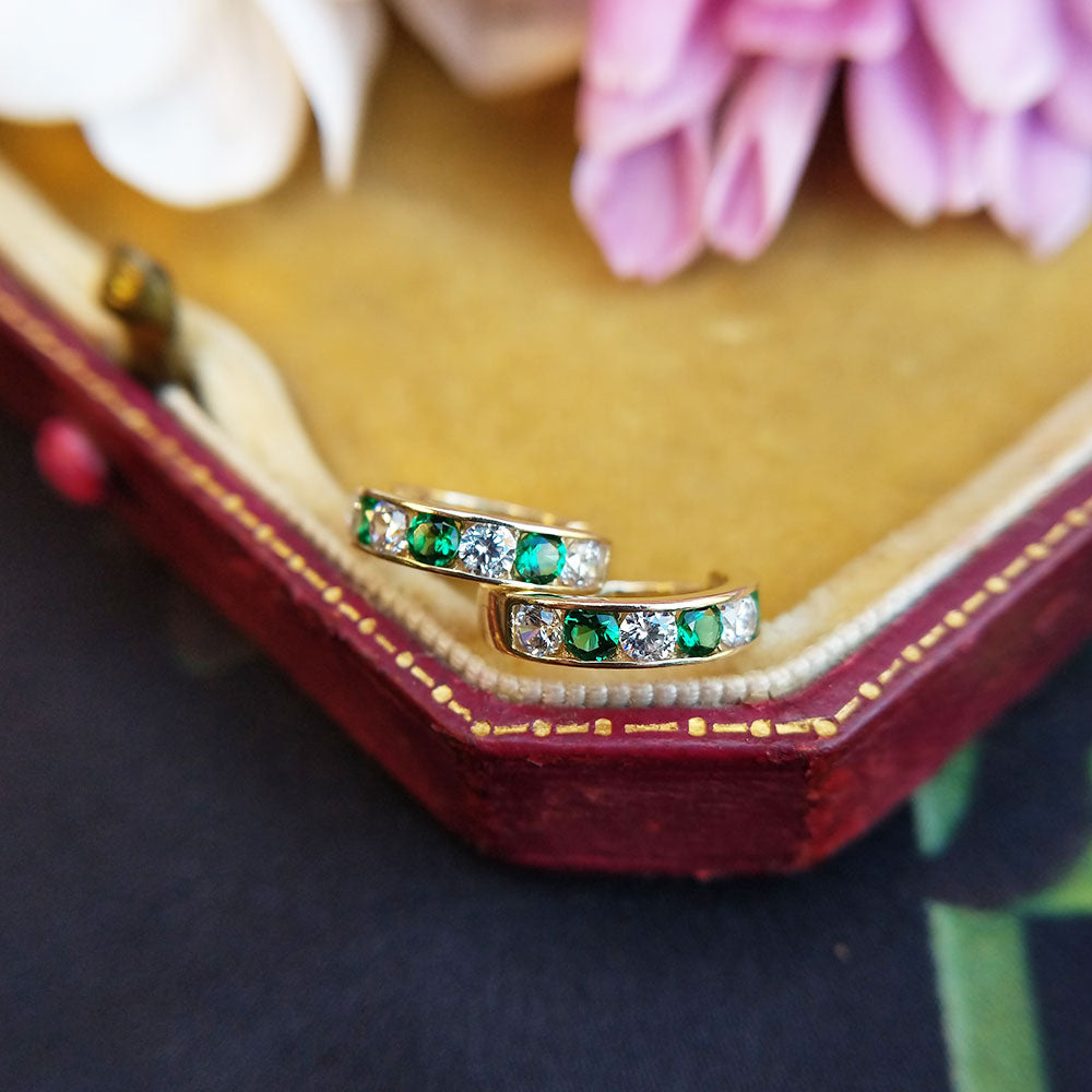 emerald and diamond CZ huggie earrings