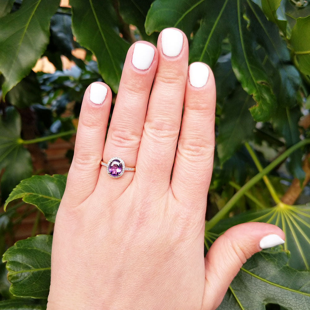 amethyst cluster ring with diamonds