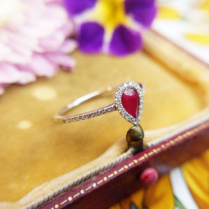 ruby and diamonds in white gold