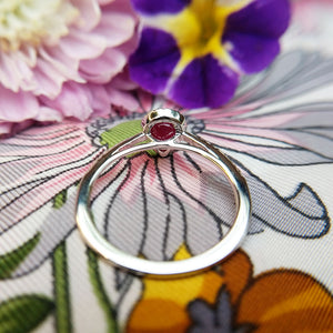 under gallery of white gold ruby ring