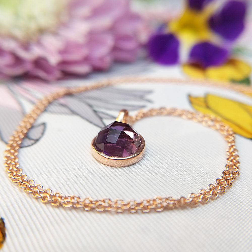 rose gold amethyst necklace