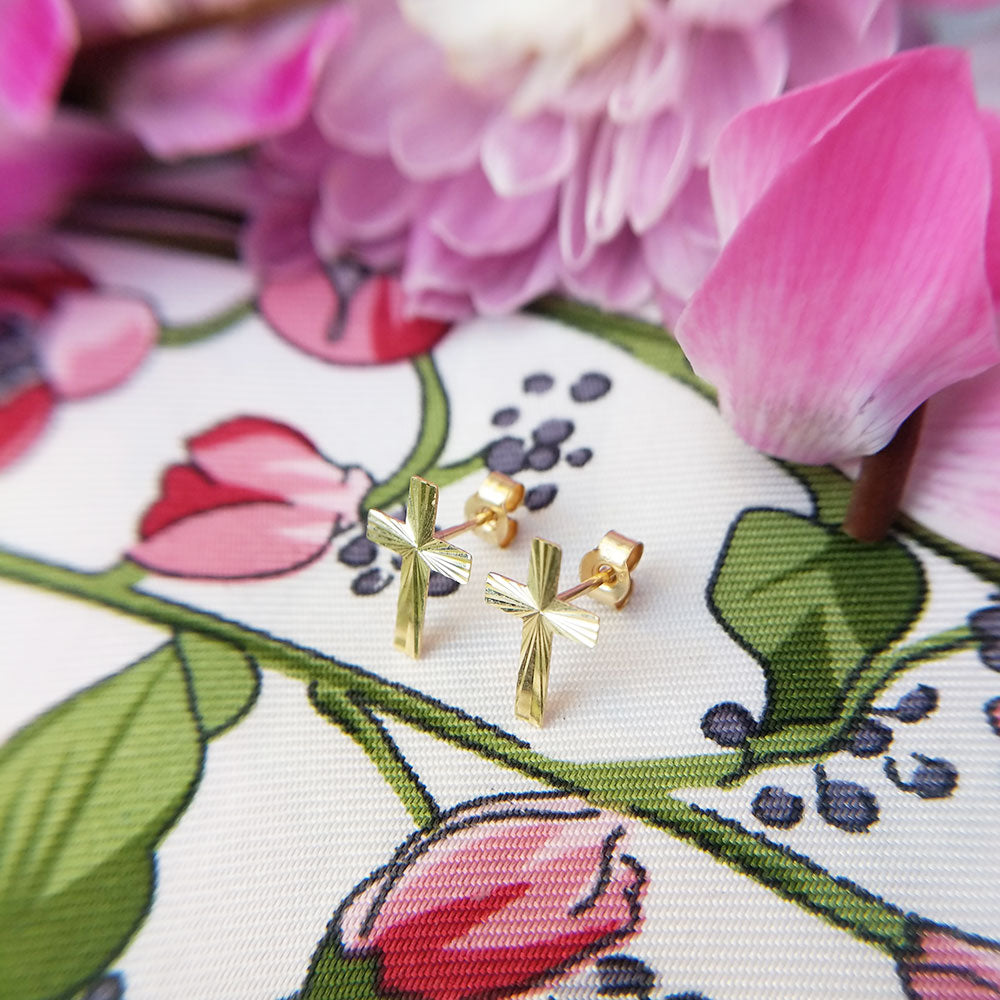 solid 9ct yellow gold cross stud earrings