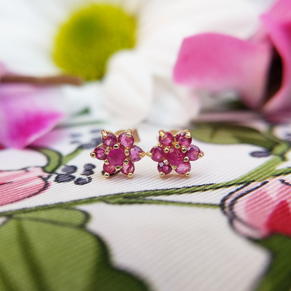 dainty ruby flower stud earrings