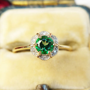 close up of green topaz ring