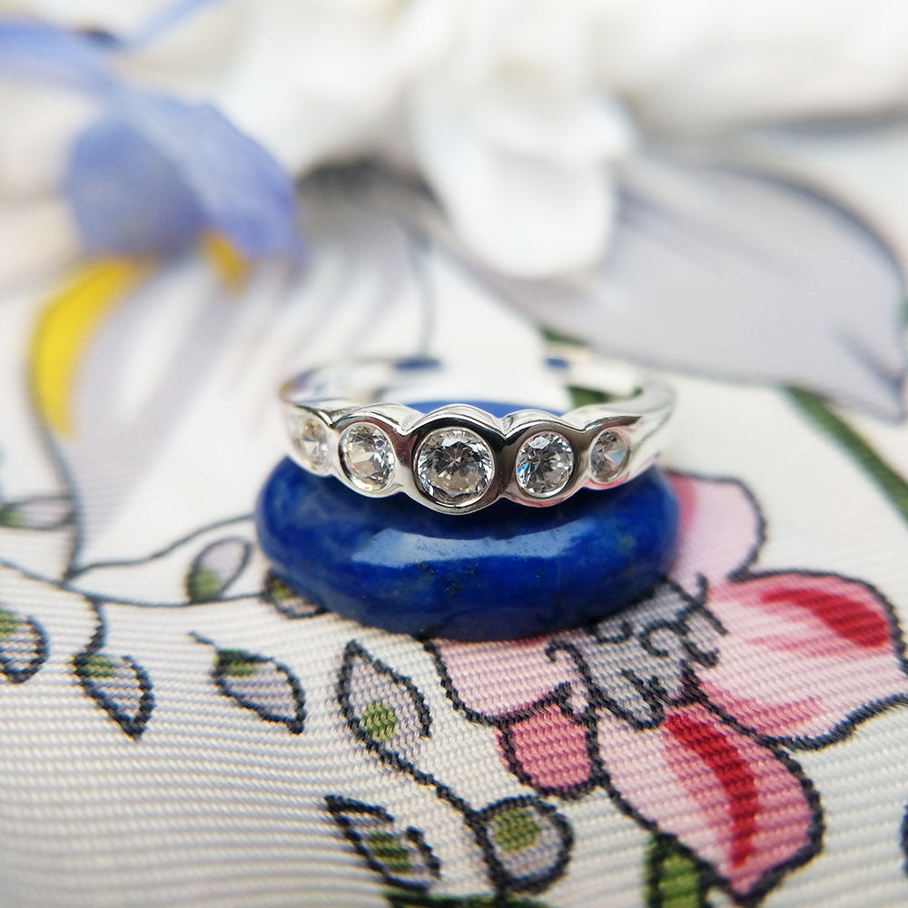 silver toe ring with gemstones