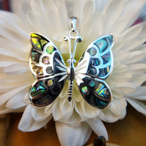 abalone shell butterfly pendant in sterling silver