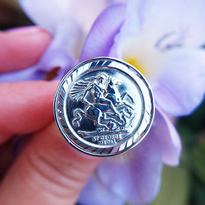 st george medallion ring in silver