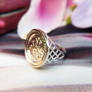women's silver sovereign ring