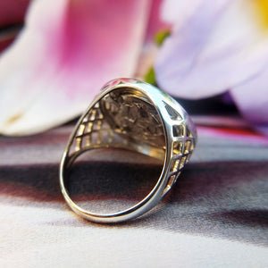 ladies coin ring in silver