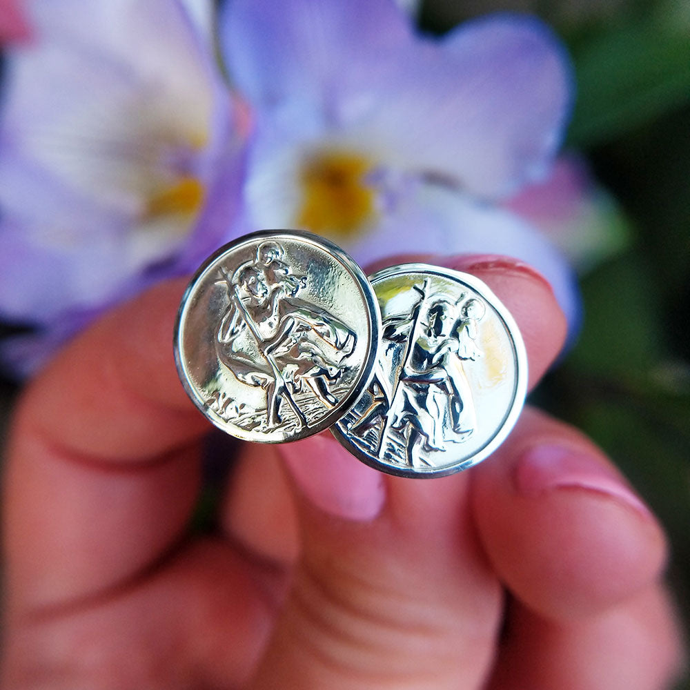 men's silver st christopher cuff links