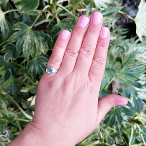 another view of signet ring on ladies hand