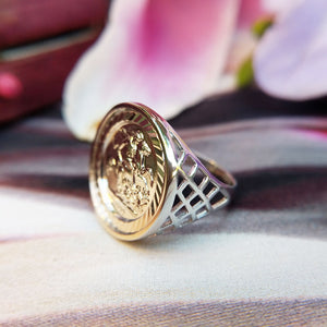 half sovereign ring in sterling silver
