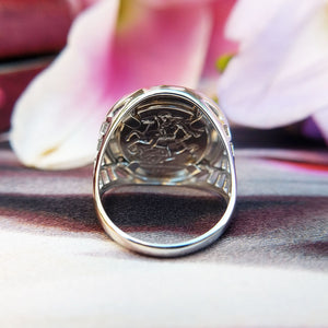 coin ring in sterling silver for men