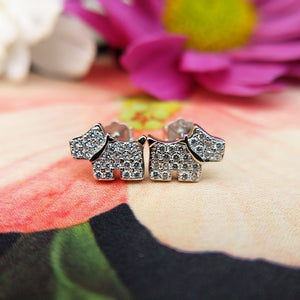 silver dog earrings with cz