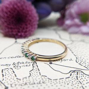 dainty emerald stacking ring